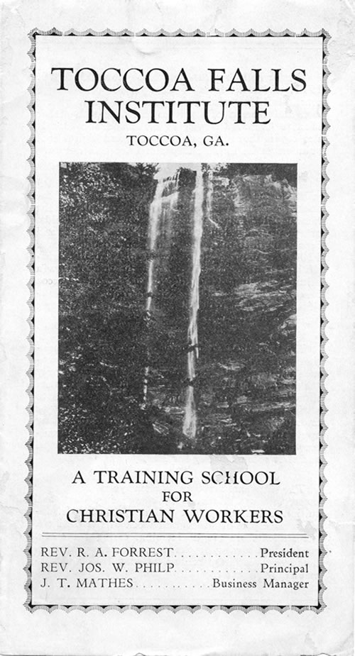 Toccoa Falls Institute brochure
