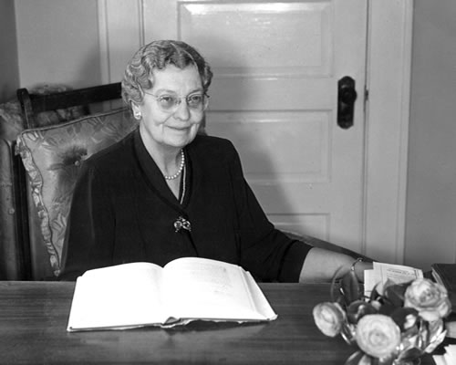 Evelyn Forrest at her desk