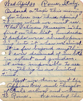 Diary entry for April 30, 1930