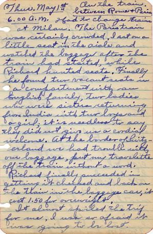 Diary entry May 1, 1930