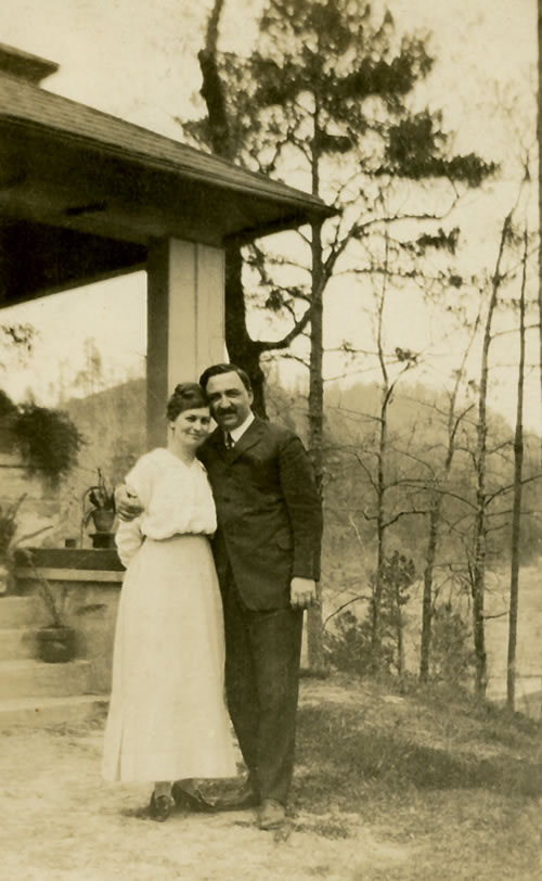 Richard and Evelyn Forrest outside their home