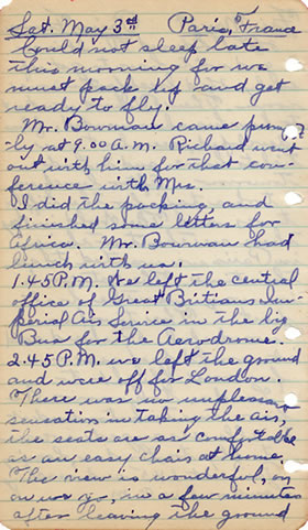 Diary May 3, 1930
