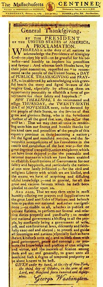 Thanksgiving proclamation by George Washington
